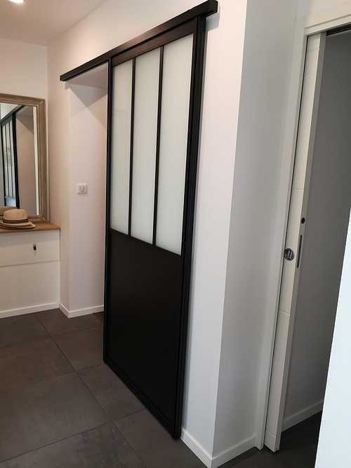 Porte intérieur coulissante type verrière atelier - Concarneau 0