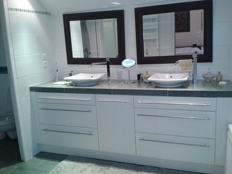 Salle de bain double vasques laqué blanc - plan de travail marbre gris 0