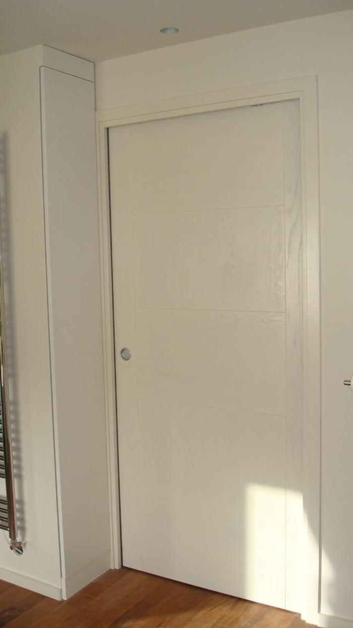 Porte plein à galandage - bois laqué blanc 0