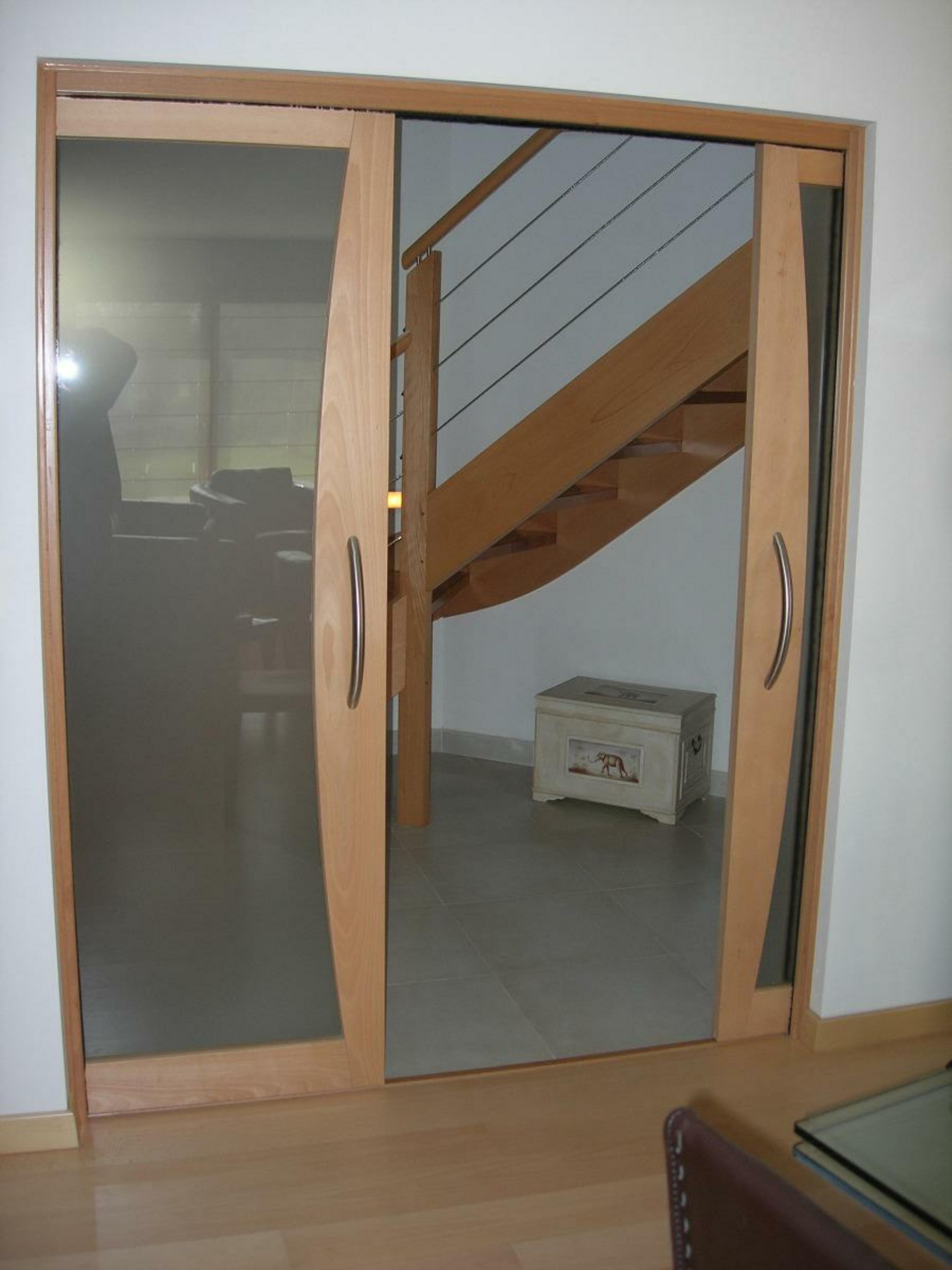 Porte double à galandage verre et bois massive intérieure salon