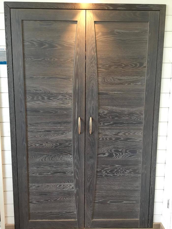 Porte intérieure double - bois massif cérusé gris 0